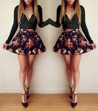 Floral Print Couture Mini Dress - Black
