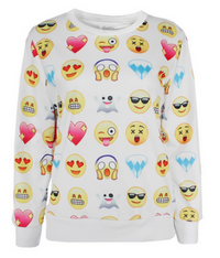 Unisex White Emoji Pullover Sweatshirt