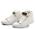 High-top White Calfskin Sneaker With Side Zips and Double Gold Plates