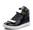 High-top Midnight Blue Calfskin Sneaker With Side Zips and Double Gold Plates BrytCouture