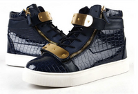 High-top Midnight Blue Calfskin Sneaker With Side Zips and Double Gold Plates