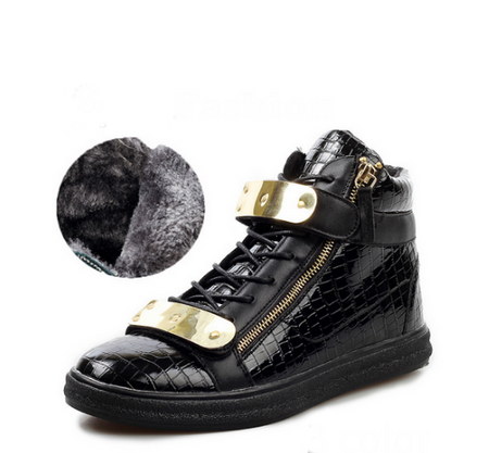 High-top Black Calfskin Sneaker With Side Zips and Double Gold Plates