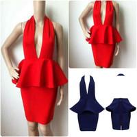 Peplum Halter Backless Mini Dress -Red and Blue