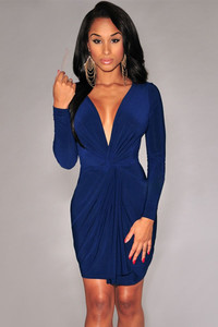 Sexy Long Sleeves Ruffle Front Navy Blue Mini Dress