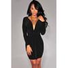Sexy Long Sleeves Ruffle Front Black Mini Dress