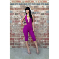 Backless Purple Jumpsuits