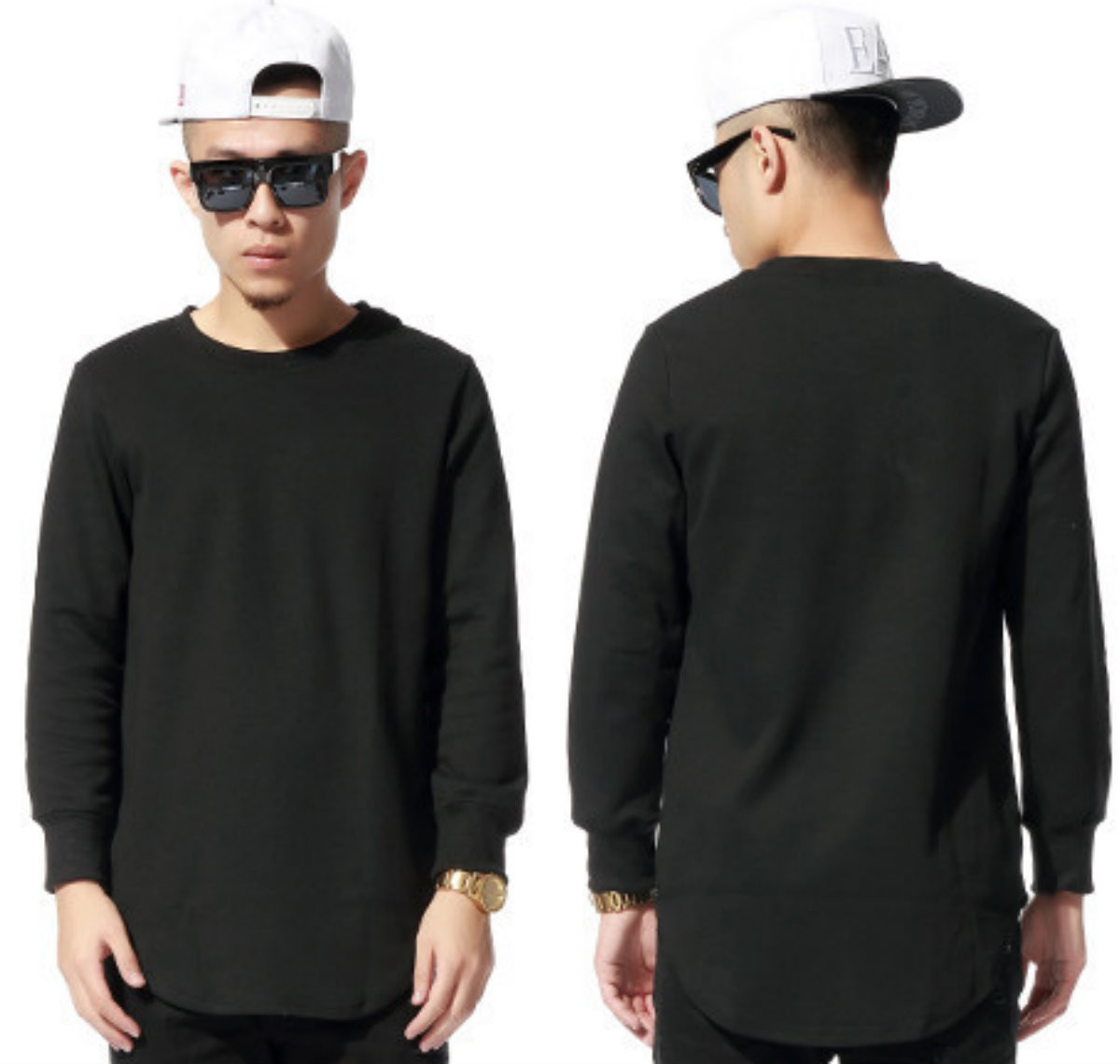 BrytCouture Hip Hop Celebrity Extended Long Sleeves Streetwear T-Shirts -  Black 09b7175a35cd