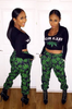 Two Piece Crop Top and Joggers Jumpsuit Set  weed print joggers