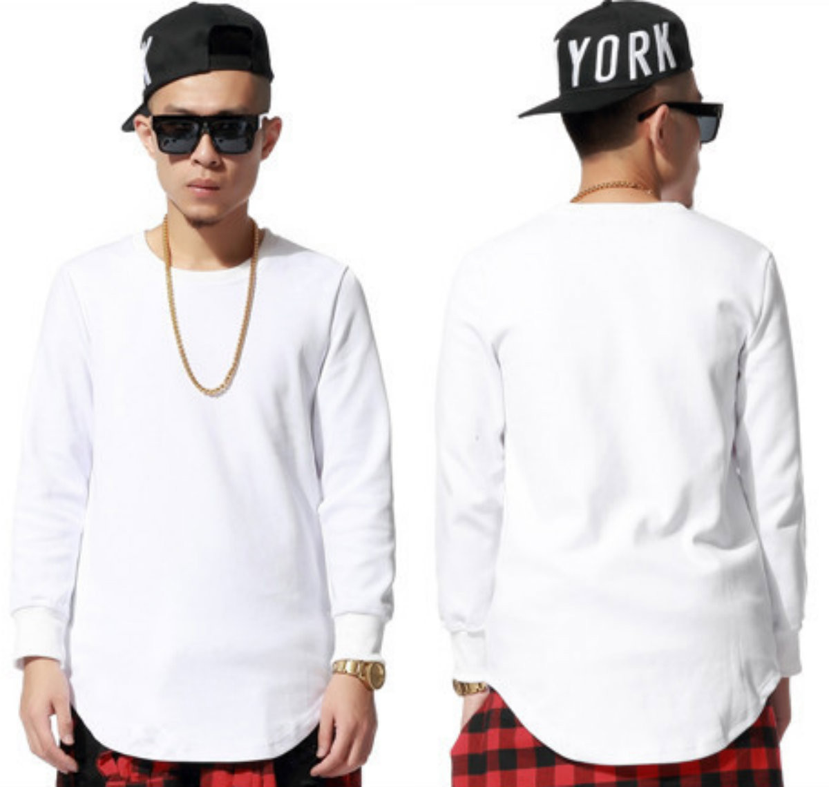 e659ea8be27d Hip Hop Celebrity Extended Long Sleeves T-Shirts - White. See 4 more  pictures. Image 1