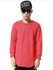 Hip Hop Celebrity Extended Long Sleeves T-Shirts - Red
