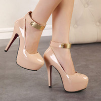 Round Closed Toe Sequineds Embellished Stiletto PU Ankle Strap High Heels - Nude
