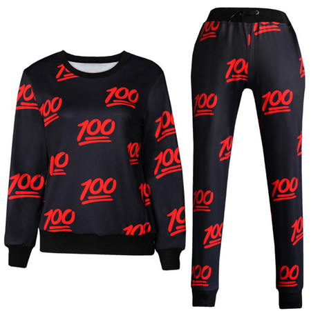 100 Limited Edition Emoji Set Joggers and Sweatshirt - Black