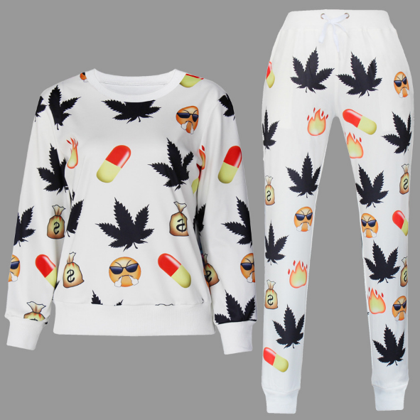 BrytCouture Weed and Pill Emoji Print Cartoon Jogger Sweatshirt Set - White