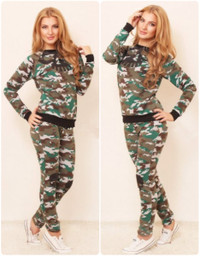 Two Piece Military Camo Women Tracksuit Set