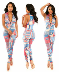 Gorgeous One-piece Geometric Print V-Neck Rompers Jumpsuit