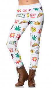 BrytCouture Emoji Weed Cash 100 Print Jogger Pants White