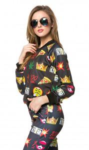 BrytCouture Emoji Weed Cash 100 Print Long Sleeve Sweater Black