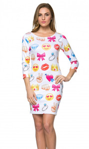 Emoji Fun Print Long Sleeve Bodycon Mini Dress White