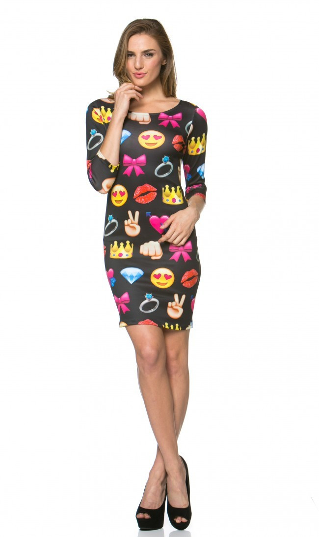 Emoji Fun Print Long Sleeve Bodycon Mini Dress Black