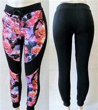 Floral Print Two-Tone Colorblock Tie Front Joggers Sweatpants