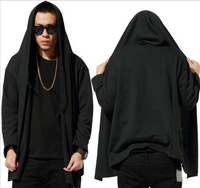 Hip Hop Plain Hitman Style Hooded Cardigan