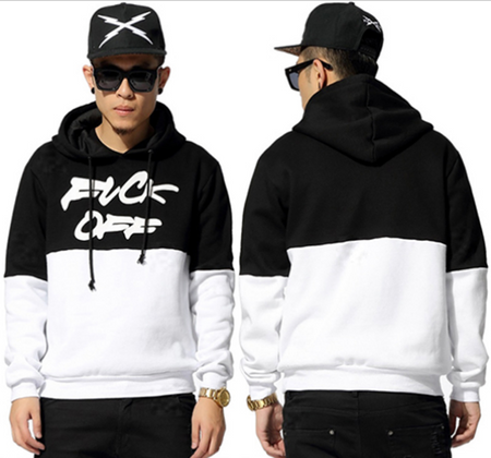 BrytCouture Black and White Men Hooded Crewneck Sweatshirts