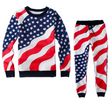 Unisex American Flag Hip Hop Tracksuit Jogger & Sweatshirt Set - Black