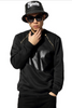 2015 Hip Hop Men's Gold Zipper Leather Patchwork Sweater Black