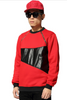 2015 Hip Hop Men's Gold Zipper Leather Patchwork Sweater Red