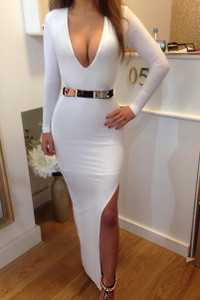 BrytCouture Sexy V Neck Long Sleeve Side Split White Maxi Dress