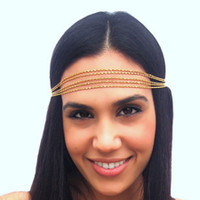 BrytCouture Golden Multi-layers Metal Hair Chain