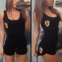 Casual Black Short and Vest Set