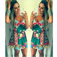 V Neck Spaghetti Strap Floral Print Mini Dress