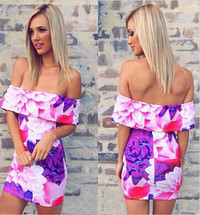 Bateau Neck Floral Print Off Shoulder Mini Dress