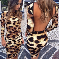 Backless Leopard Print  Knee Length Dress