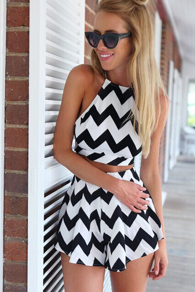 BrytCouture Sexy Tank Sleeves Backless Black Two-piece Set(Top+Shorts)