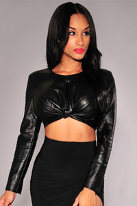Sexy Black Faux Leather Knotted Front Long Sleeves Crop Top