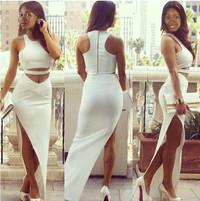 Sexy Tank Sleeves Side Split White Maxi Dress