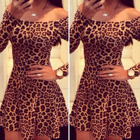 Sexy Bateau Neck Off Shoulder Long Sleeves Leopard Print Mini Dress