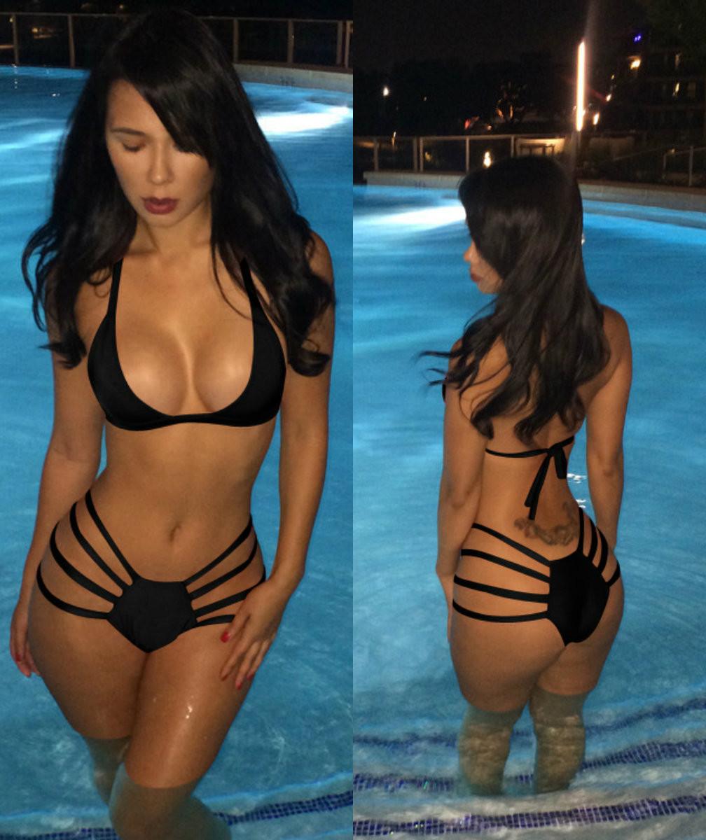 886051292f 2 Piece Celebrity Style High Waist String Bathing Suit - Black
