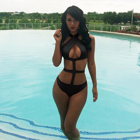 Halter Celebrity Style Monokini Bathing Suit - Black