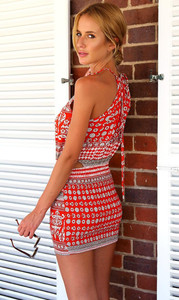 Halter Neck Sleeveless Cut-out Waist Print Red Blending Mini Dress