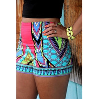 Geometric Print Button Fly Blending Mid Skinny Shorts
