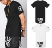 European Style West Side Paisley Bandana Extended Hip Hop T-Shirt  Black and White