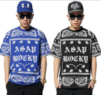 2015 Hip Hop Style ASAP Bandanna T-Shirt In Red, Blue and Black