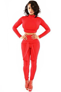 Turtle Neck Long Sleeves Two-piece Skinny Jumpsuit - Red