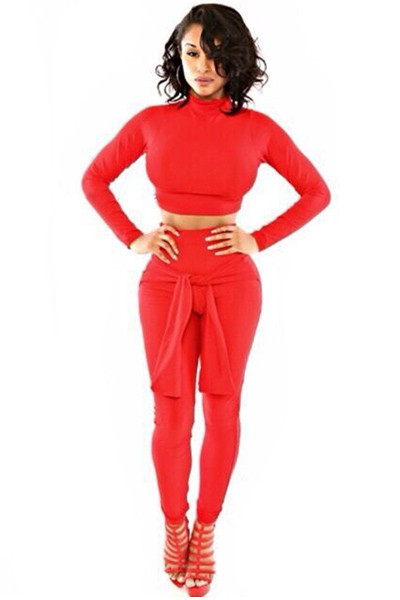 8a85c6cd12a4 Turtle Neck Long Sleeves Two-piece Skinny Jumpsuit - Red