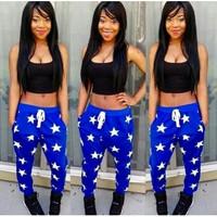 BrytCouture Stars Print Blue & Black Top Two-piece Jumpsuit