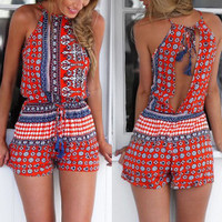 Sexy Round Collar Sleeveless Printed Hollow Out Romper
