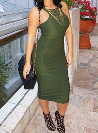 Sexy Round Neck Sleeveless Solid Color Bodycon Dress